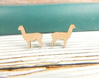 Alpaca Earrings, Wooden Llama Studs, Wood Earrings, Wooden Jewellery, South American Animals, Alpaca Gifts