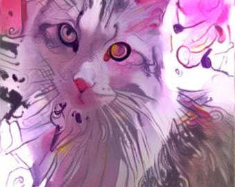 ATC ACEO Who Me? Pink Cat Kitty Art Card