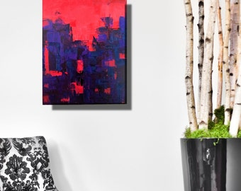 Modern abstract bold red blue knife painting Hong Kong cityscape