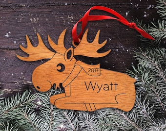 Wood Moose Ornament: Personalized Name, Boy or Girl, Baby's First Christmas 2018, Kids Woodland Animal Elk Ornament