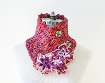 Floral Scarf, pink, white, peach colours, Collar scarf, cowl scarf, floral scarf, ready to ship, Woman's Scarf, handmade scarf, gift for her