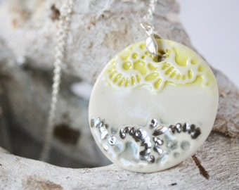 "Yellow and Grey Lace Circle Pendant in Porcelain on a  45cm ( 18"" ) Sterling Silver Chain"