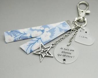 """porte clé liberty bleu cabochon """"Super Nounou"""" + prénom enfant étoile personnalisable"""