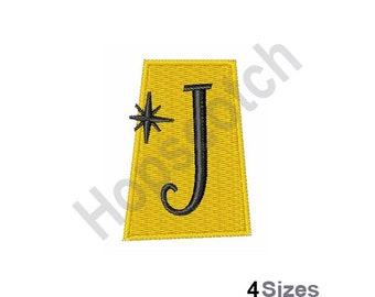 Retro Rectangle J - Machine Embroidery Design