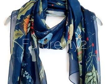 Spring Garden Morif Navy Blue Silk Scarf / Spring Summer Scarf / Autumn Scarf / Women Scarves / Gifts For Her / Handmade Accessories