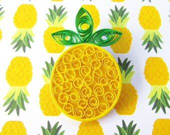 Pineapple Brooch, Pineapple Jewellery, Pinup Jewellery, Pinup Brooches, Quilled Jewellery, Quilled Brooches, Rockabilly Brooches, Pineapples