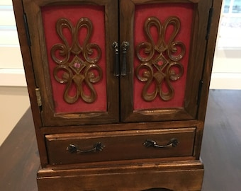 Large Wood Vintage 4 Drawer Jewelry Box with velvet lined drawers chest style music box
