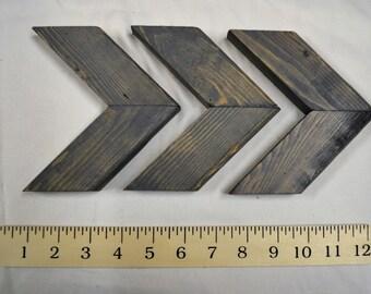 Weathered Gray stain Chevron Art / Wood Chevrons / Chevron Wall Art / Set of 3 small / Mini Chevrons /