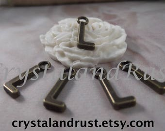 "5 Letter ""L"" Antique Bronze Charms --- Antique Bronze Color"