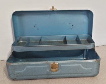 Vintage Fishing Tackle Box, Old Blue Tool Box, Rusty Metal Fishing Box, Storage Box, Industrial, Farmhouse, Cottage Chic Garden Decor