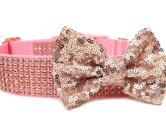 Rose Gold Dog Collar Bow Add-On Rose Gold Sparkle Bow for Dogs