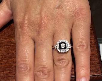 onyx and diamond 14k white gold ring