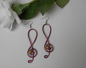 Earrings for bride - treble clef Burgundy and gold