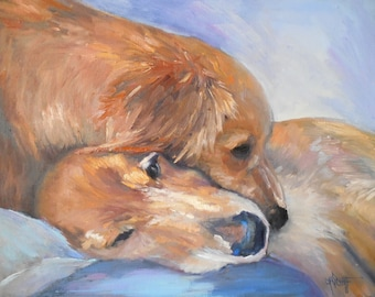 """Dog Print on Canvas, Dog Portrait Giclee, Golden Retriever Giclee  Print, """"Puppy Love"""" free shipping, choose your size, ready to hang"""