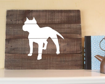 Pitbull Silhouette (Cropped Ears), Reclaimed Wood Sign, American Pit Bull Terrier, Staffordshire Sign, American Bulldog, bull terrier, dog,