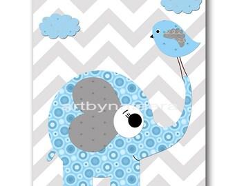 Elephant Nursery Decor Baby Boy Nursery Decor Baby Nursery Print Boy Art Children Art Print Elephant Gray Blue Baby Art Prints