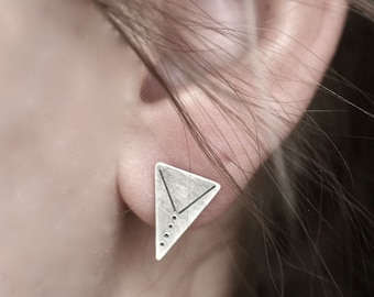 Stamped Triangle Stud Earrings -Sterling Silver