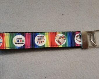 Autism Awareness Wristlet Keychain