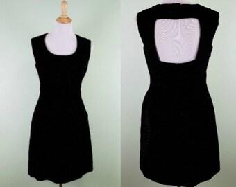 1970s Young Edwardian Little Black Dress - Vintage 70s Textured Velvet Dress - Medium