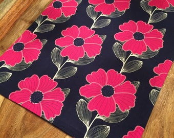 Fuchsia and navy Bold floral fabric table runner