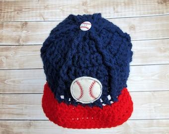 Baby Baseball Hat, Baby Baseball Cap, Baby Hat, Newborn Baseball Hat, Newborn Boy Hat, Baseball Photo Prop, Baby Baseball Beanie, Blue, Red