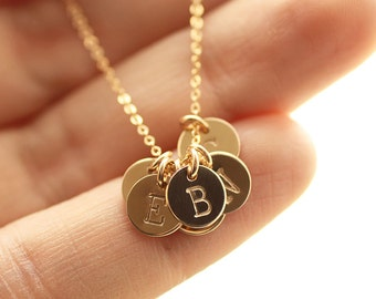 Tiny Gold Initial Charm Necklace, Mother's Necklace - SIX, 6 Hand Stamped Tiny Initial Disc Charms - Gold Filled Necklace