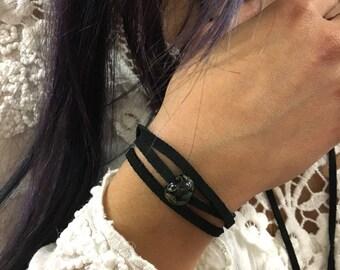 Minimalist bead bracelet, boho bracelet, Black suede bracelet, choker, adjustable black bracelet, Suede Choker, casual bracelet - AFN 124