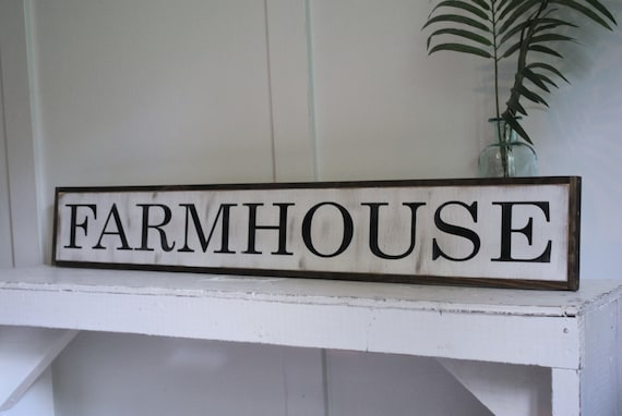 """FARMHOUSE 7""""X48"""" sign   distressed shabby chic wooden sign   painted wall art   elegant farmhouse decor"""