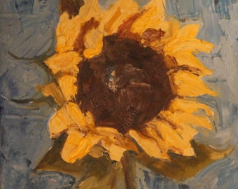 evening sunflower original oil painting