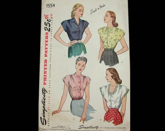 1940s Simplicity Pattern 1554 - Size 16/bust 34  Front buttoning blouse, extended shoulders - Complete