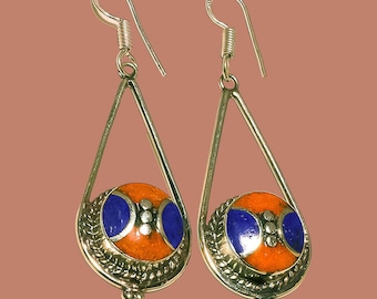 Lapis Lazuli and Red Coral Tibetan Design Hand-Crafted Nepalese Sterling Silver, Dangle Earrings