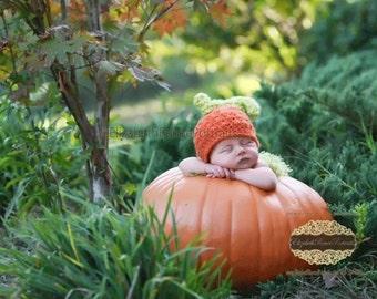 Crochet NEWBORN Pumpkin Hat Photography Prop