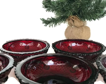 Vintage Avon 1876 Ruby Red Berry Bowls Cut Glass Dessert Bowls Red Kitchen Cranberry Cape Cod Collectible Set of 3 plus 2 Bowls