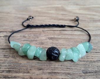 Positive energy bracelet raw nephrite jade bracelet lava essential oil diffuser bracelet chips bracelet rough green jade bracelet calm gifts