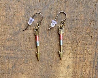 Arrow Earrings, Arrow Jewelry, Archery Jewelry, Archery Earrings, Bronze Arrow - Cotton Candy Arrow Earrings (Bronze)