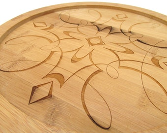Lazy Susan - Wood Engraved Scroll Work Graphic Design - Bamboo Wood Turntable