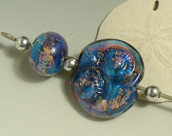 Lampwork beads/beads/SRA lampwork/ammonite/Double Helix/silver/