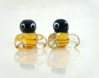 Bee Beads, Yellow and Black Bumble Bees, Lamp Work Beads - Bumble Bee Lampwork Beads - 13mm - Select Qty. from Options