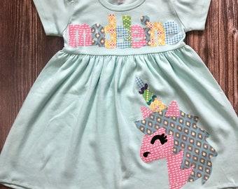 Unicorn Dress, Unicorn Birthday, Girl's Dress wtth Unicorn, Toddler Dress or Girls Dress- Unicorn Applique - You Choose Dress Color and Slee