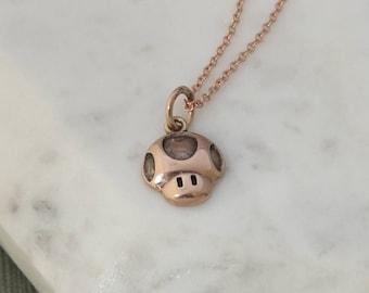Nintendo Super Mario Bros Inspired Mushroom Pendant Necklace, 1+ Life Mushroom, Power Up Mushroom, 10K Rose Gold, Sterling Silver Chain