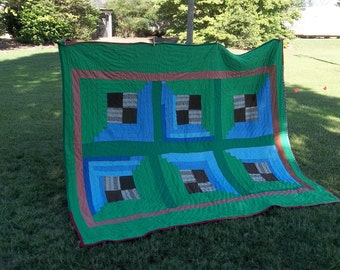 Vintage Quilt 94 x 82 Primitive Farmhouse Quilt Hand Pieced Quilted Rustic Bedspread  Bedding Throw Tablecloth Tree Skirt Cottage Chic