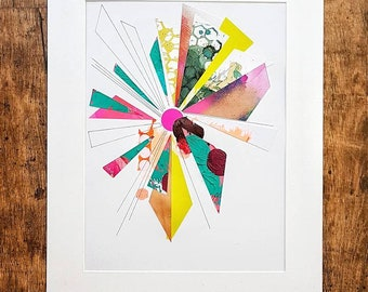 Mixed media collage, geometric shapes, bright colours, hand drawn details, thick paint, stickers, pink, green, ink, modern decor,  A3 size