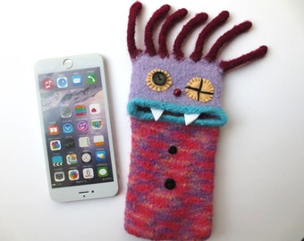 "Smartphone Monster XXL ""Medusa"", felted, cellphone case, sleeve, iphone 8 Plus, iphone 6 Plus, Samsung Galaxy S8 +, mobile phone monster, felt, wool"