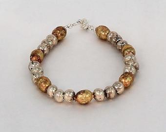 Beaded bracelets, two tone bracelet, mixed metal jewelry, simple stacking bracelet, rustic bracelet