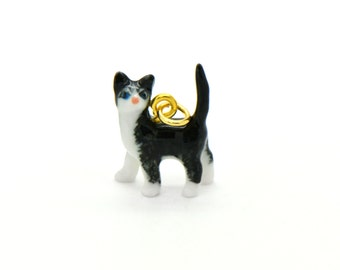 Tiny Porcelain Tuxedo Cat Charm Miniature Cat Pendant Hand Painted Porcelain Charm Glass Kitten Charm Vintage Style Jewelry Supplies (AT085)