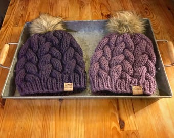 Purple knit hat, purple hand  knit beanie, fur pom beanie, purple hand knit toque