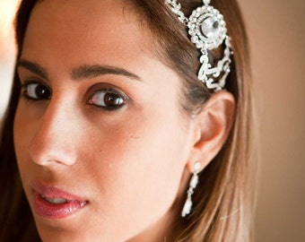 Audrey Swarovski Crystal and Cubic Zirconia Rhinestone Ribbon Bridal Headband