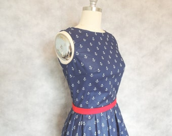 Anchor Dress - Nautical, Navy Blue, Sailor, Boat Neck,  Vintage Inspired, Womens Dress