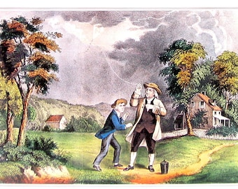Franklin's Experiment - Lightning and Electricity - Small Currier and Ives Print - 1980 Vintage Book Page