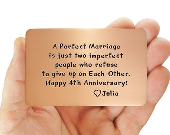 Anniversary, Copper, Anniversary Gift, Personalized, Wallet Insert Card, Copper Wallet Insert, Love Reminder Card, 4th Anniversary
